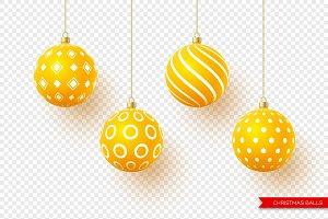 3d Christmas yellow balls with