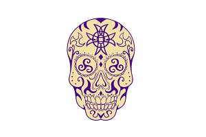 Mexican Skull  With Triskele and Cel