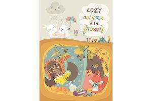 Cute animals reading book in den