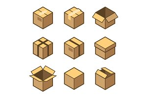 Carton Packaging Box Icons Set