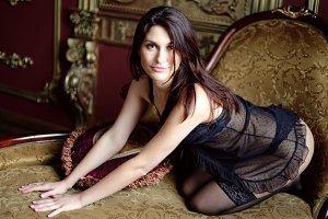Attractive girl in black lingerie