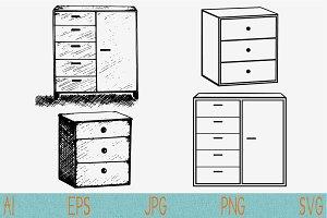 cabinet svg cupboard wardrobe set