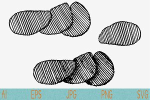 Potato Chips svg set vector png eps