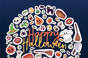 Halloween vector symbols banner