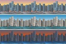 Set of city skylines pattern
