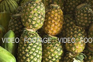 Pineapple in the fruit market