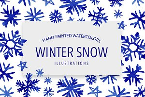 Watercolor Winter Snow Illustrations