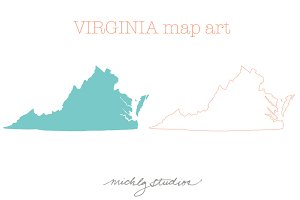 VECTOR & PNG Virginia map clip art