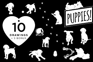 10 Dog / Puppy Illustrations + Bonus