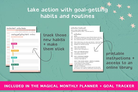 printable planner goal tracker stationery templates creative