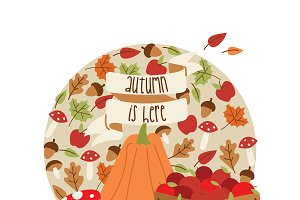 Vector autumn time thanksgiving