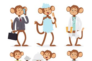 Monkeys rare animal vector monkey