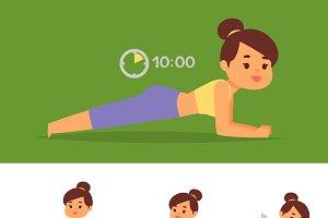 Woman home workout vector exercising