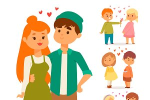 Couple in love vector characters