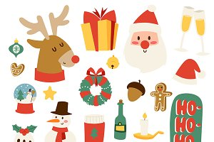 Christmas icons vector symbols