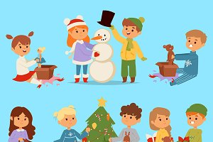 Kids winter Christmas playground