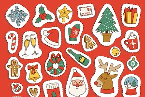 Christmas icons symbols for greeting