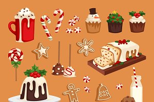 Christmas food vector desserts