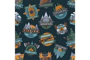 Camping outdoor tourist travel logo