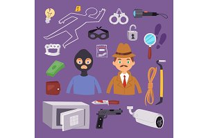 Criminal thief cartoon detective