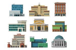 Different city public buildings
