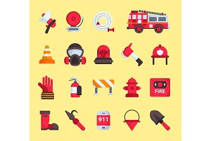 Firefighter elements vector fire