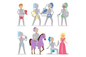 Knight cartoon hero character with