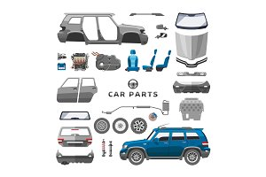 Car service parts flat auto mechanic