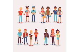 Youth teens group vector grouped
