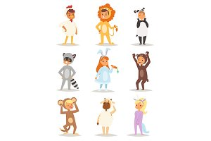 Children kids animal costumes vector