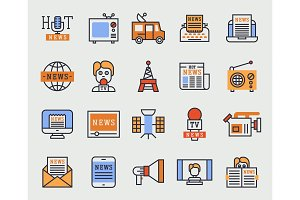 Hot news tv website vector icons
