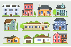 Cottage house facede vector city
