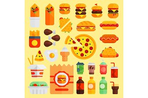 Cartoon fast food vector cuisine