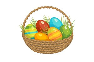 Easter vector illustration basket