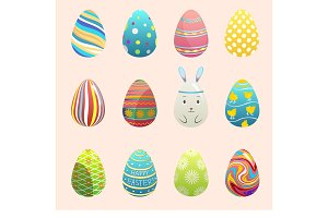 Realistic 3d vector easter eggs