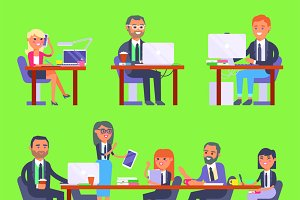 Flat vector business people workplac