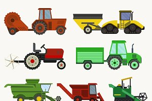 Vector agricultural vehicles harvest