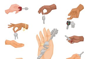 Hand holding key vector apartment