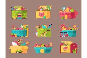 Boxes full kid toys cartoon cute