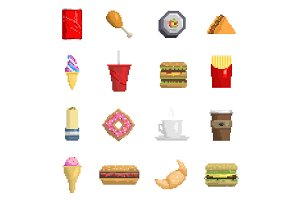 Pixel fast food vector icons fruit
