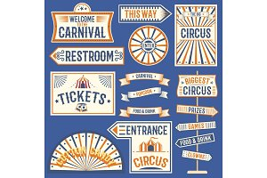 Circus labels carnival show banner