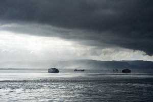 Ferry under the storm. Indonesia