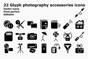 Glyph photography accessories icons