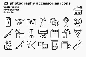 Outline photography accessories icon