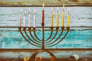 A fully lit menorah Glowing Hanukkah