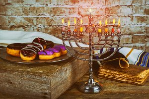 Jewish holiday Hanukkah with menorah
