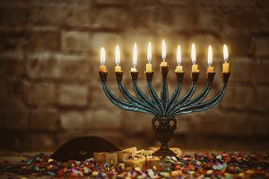 Jewish Hanukkah menorah candles