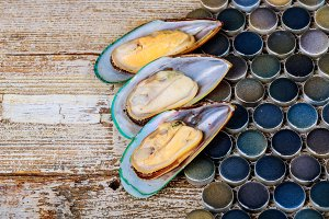 fresh seafood mussels Ready for cook
