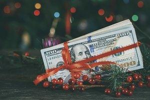 American dollars as a Christmas gif