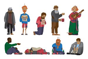 Homeless people characters cadger